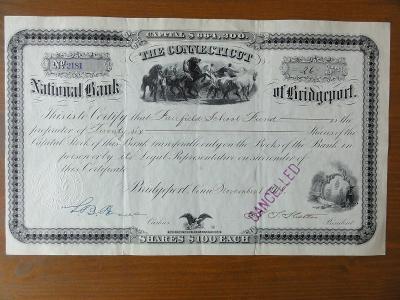 Akcie THE CONNECTICUT NATIONAL BANK OF BRIDGEPORT, Dekorativní