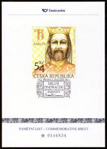 POF. PLZ 68 - PAM. LIST ČESKÉ POŠTY MILOŠ ONDRÁČEK, KAREL IV. (S2774)