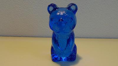 Soška medvěda z modrého skla, Brussel, retro