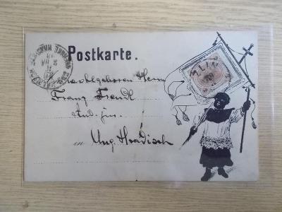 Celistvost lístek Zlín privátní originál kresba Mouřenín humor ? 1893