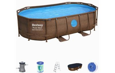 Bazén s konstrukcí s oválným půdorysem 427 x 250 x 100 cm RATTAN se sc