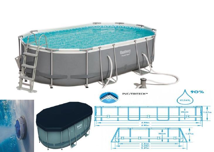Bazén s konstrukcí oválný půdorys 488 x305 x107 cm schůdky a filtrace - Zahrada
