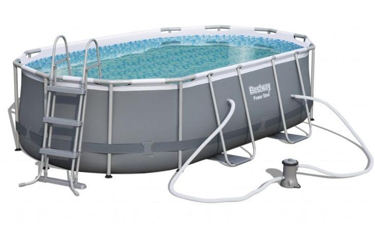 Bazén s konstruk s oválným půdorysem 427 x 250 x100cm schůdky filtrace - Zahrada