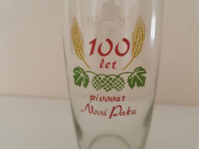 Pivní sklenice 100 LET PIVOVAR NOVÁ PAKA 0,3 super stav