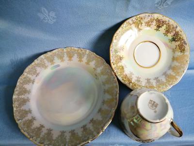 porcelánový šálek + podšálek +dezertní talíř -  zn. MZ CZECHOSLOVAKIA
