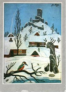 Pohlednice - Josef Lada - Zřícenina hradu