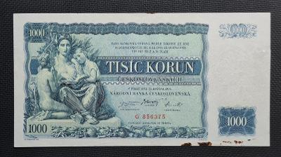 Vzácná 1000 Kč 1934, Neperforovaná, TOP Stav !!!