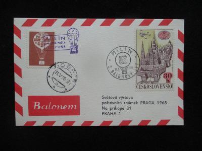 PRAGA 1968 - BALONEM - nálepka + razítka MILÍN / PALUBNÍ POŠTA BERNINA