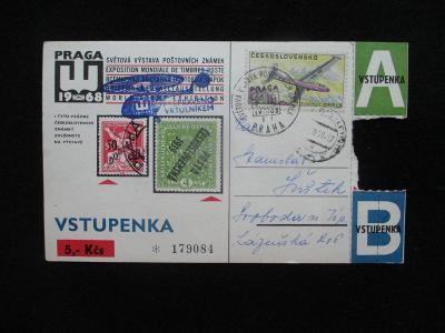 PRAGA 1968 vstupenka - celina prošlá poštou / PŘEPRAVENO VRTULNÍKEM