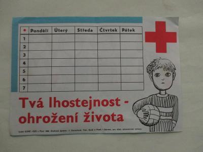 Školní rozvrh hodin Červený kříž, první pomoc KÚNZ OZV PLZEŇ 1982 ČSSR