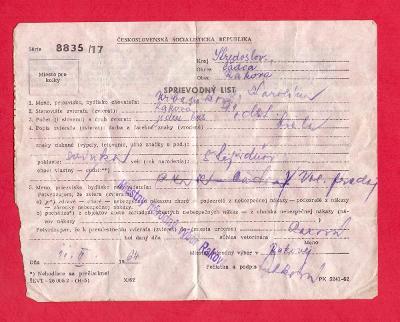 DOKUMENT - POVOLENÍ PRO PŘEVOZ 5 TÝDENNÍHO SELETE # 1964