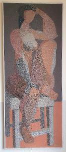 akademický malíř Josef Hluchý - akt sedící ženy, dílo z písku