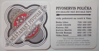 Pivní tácek nový - Měšťanský pivovar Polička