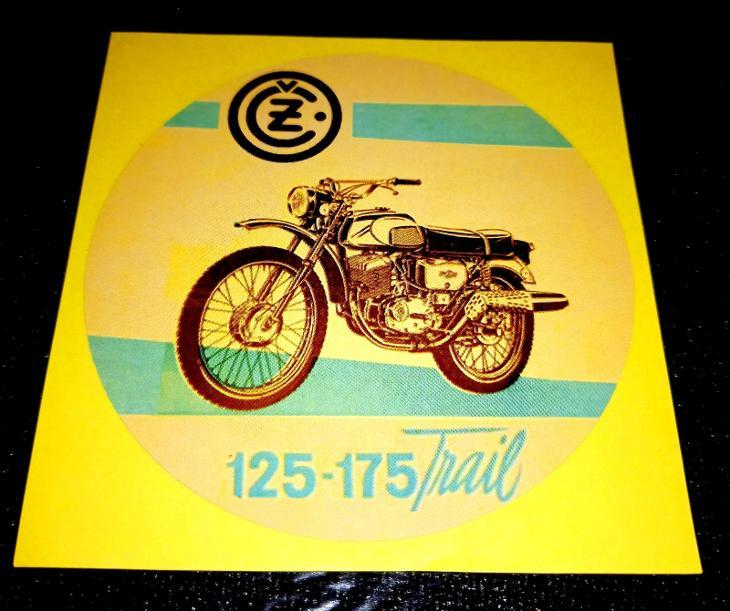 ČZ 125-175 Trail, bílá samolepka pr.7-(1x) - Náhradní díly a příslušenství pro motocykly