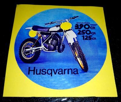 HUSQVARNA 125CR, 250CR, 390CR, MOTOCROSS, bílá samolepka pr.7-(1x)
