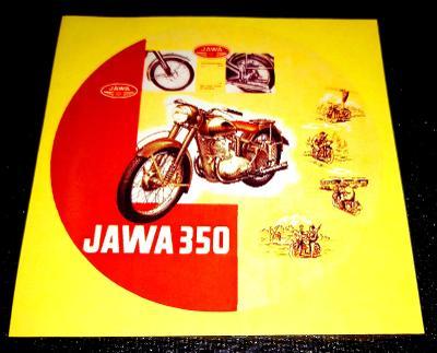 JAWA 350 pérák, karikatura, bílá samolepka pr.7-(1x)