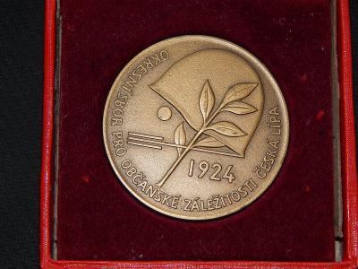 Medaile - okresní sbor pro občanské záležitosti Česká Lípa 1924 v etue