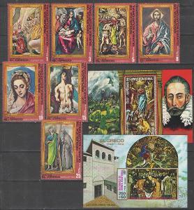 O ROVNÍKOVÁ GUINEA série + 2x aršík umění El Greco 1976