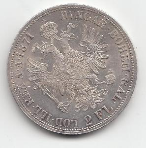 """Fr.J.I., 2 zlatník 1871 A, """"RR"""" - veľmi vzácny roč., nádherný stav TOP"""