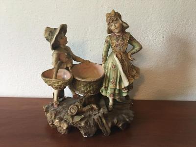 Secesní starožitný figurální porcelán socha žardiniéra 1890-1920