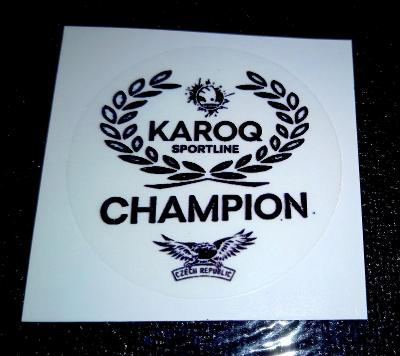 KAROQ SPORTLINE, CHAMPION (čirá černá samolepka pr.4) dle foto (1x)