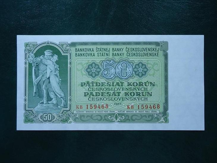 50 Korun 1953 Serie KB Neperforovana UNC - Bankovky