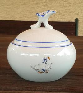 Porcelánová cukřenka - dekor husy - perfektní TOP stav!