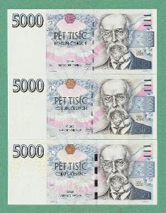 💎 5000 korun,  3 ks - všechny vydané serie ! -   špičkový stav UNC 💎