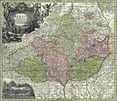 Mapa Moravy, faksimile na ručním papíru, 50 x 60cm