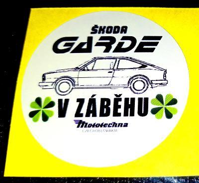 V záběhu Mototechna ŠKODA GARDE, samolepka pr.4, dle foto (1x).
