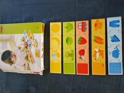 Sada dřevěných didaktických hraček Haba a  Goki pro děti od 2 let