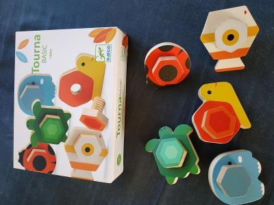 Sada dřevěných didaktických hraček Djeco a Viga pro děti od 18 měsíců