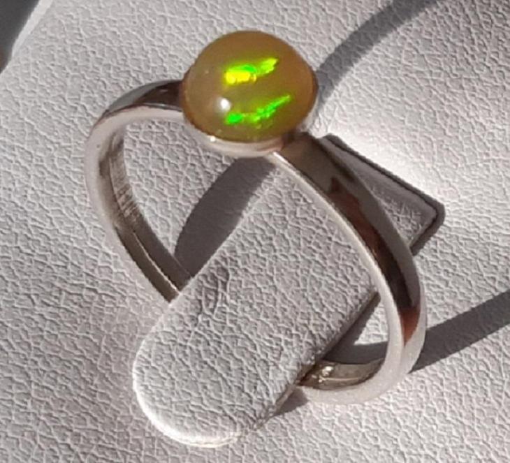 Nový stříbrný prsten s přírodním etiopským opálem Ag 925/1000 - Šperky