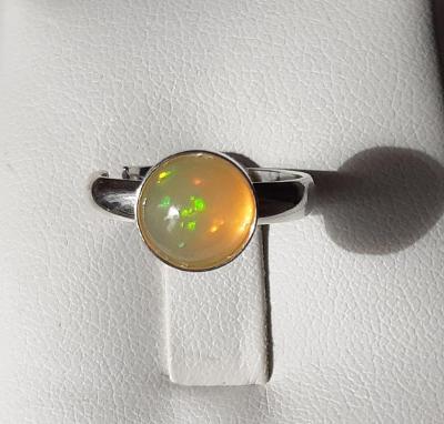 Nový stříbrný prsten s přírodním etiopským opálem Ag 925/1000 uni