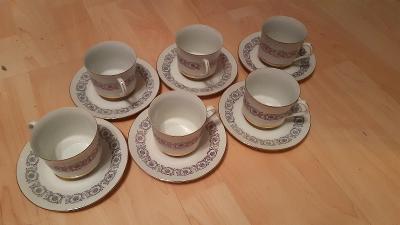 Porcelánové hrnky a podšálky, zn. H&C Epiag in Czechoslovakia - 6ks