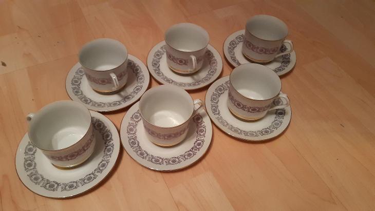 Porcelánové hrnky a podšálky, zn. H&C Epiag in Czechoslovakia - 6ks - Porcelán