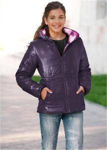 Teplá dívčí oboustranná bunda s kapucí zn. bpc (Bonprix) vel. 140 XS