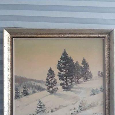 Obraz Zimní krajina, olej na sololitu originál signováno