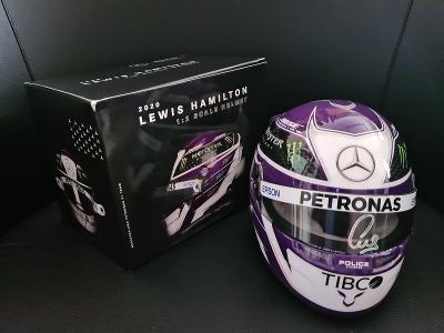 LEWIS HAMLTON - mini helma (1/2) s podpisem - F1 - MERCEDES F1 - COA