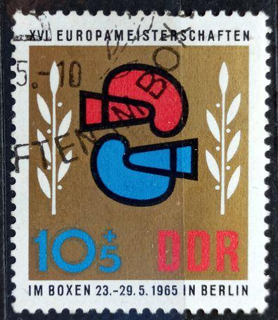 DDR: MiNr.1100 Two Boxing Gloves and Laurel 10pf+5pf 1965