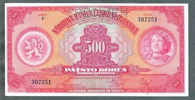 500 korun 1929 serie F perf. stav 1+