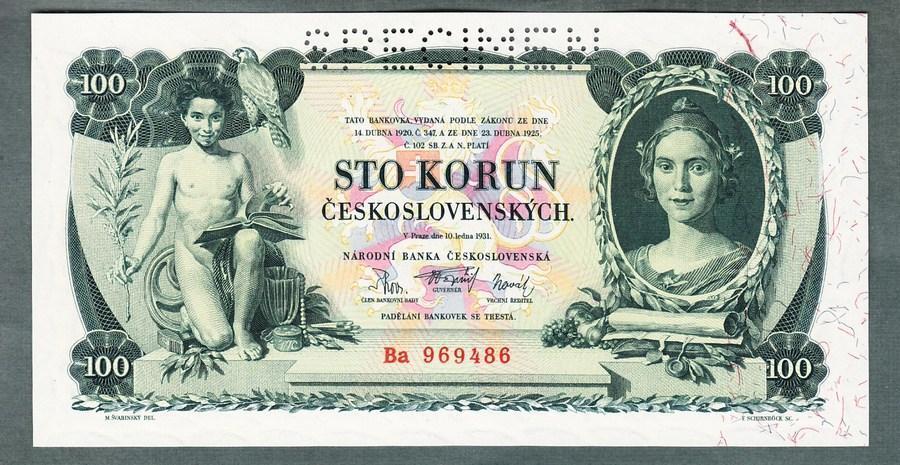 100 korun 1931 serie Ba perf. stav UNC - Bankovky