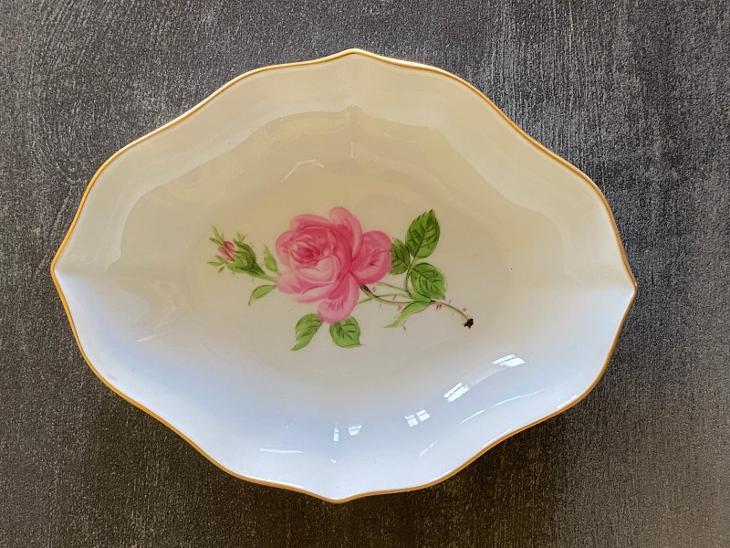 Míšeň - miska s růžičkou a se zlacením - značeno, TOP stav  - Porcelán