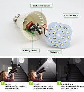 LED chytré žárovky • ovládné ZVUKEM • 7W - reagující na zvuk