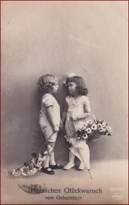 Děti * dvojice, deštník, květiny, atelier foto, gratulační * X010