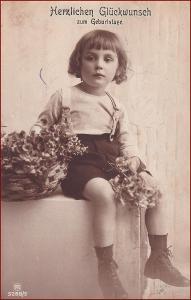 Děti * chlapec, květiny, košík, atelier foto, gratulační * X013