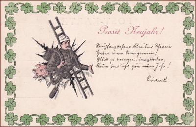Nový rok * prasátko, kominík, čtyřlístek, tlačená, gratulační * M1221