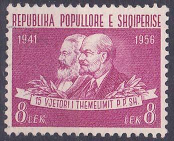 Albánie - výroční, Marx a Lenin, koncovka
