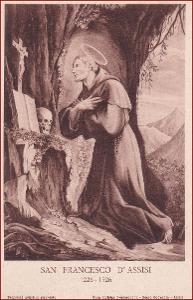Svatý František * lebka, krucifix, modlitba, náboženský motiv * X075