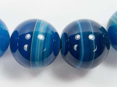 Achát modrý onyxový, kuličky 14mm, ZBYTEK 2ks, korálky A27-14